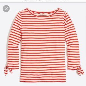 NWOT J. Crew red striped tie-sleeve shirt